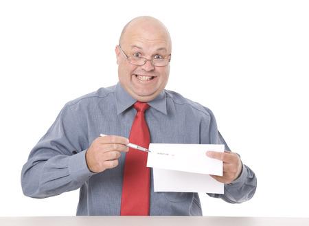 Photo pour A shady looking salesman pushing for a signature. - image libre de droit