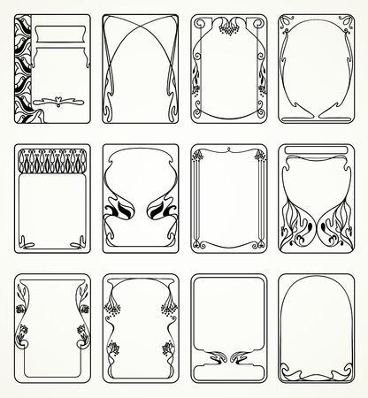 Illustration for Labels in art nouveau style for decoration and design - Royalty Free Image