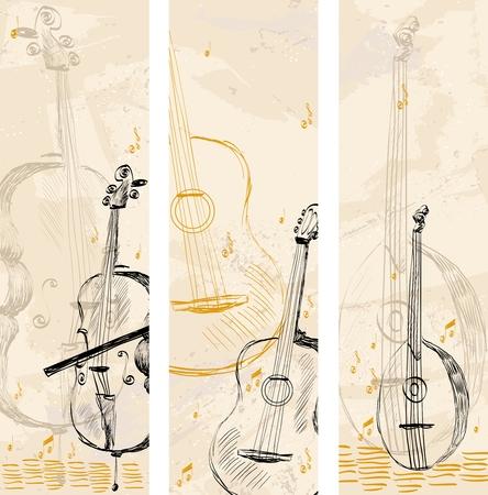 Illustration pour hand drawn musical instruments on a light background - image libre de droit