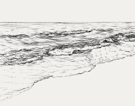 Illustration pour Summer seascape sketch - image libre de droit