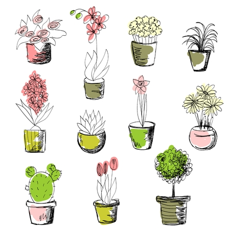 Illustration pour Set of Plants - image libre de droit