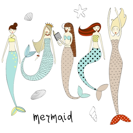 Illustration for Vector cute mermaid - Royalty Free Image