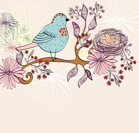 Ilustración de Bird nest on the tree branch. Vector illustration - Imagen libre de derechos