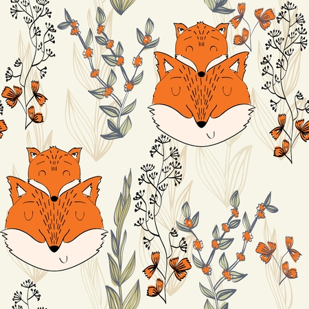 Illustration for Seamless pattern. Vector fox mom and baby - Royalty Free Image