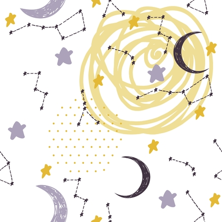 Illustration for Seamless pattern with constellations and moon. Sweet dreams. - Royalty Free Image