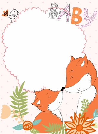Illustration pour Baby shower card. Vector fox mom and baby - image libre de droit