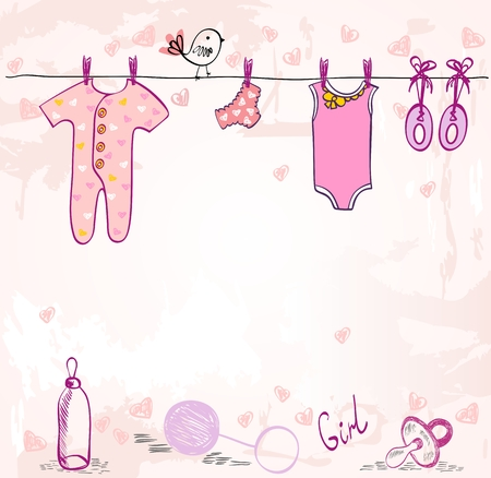 Ilustración de Vector baby shower. Cute card for girl with baby elements. - Imagen libre de derechos