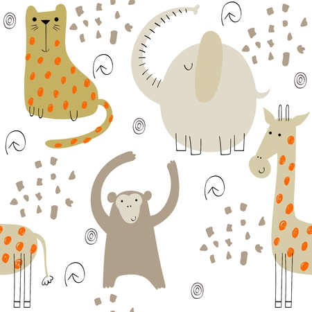Illustration pour Cute seamless pattern with hand drawn animals. Exotic wallpaper for fabric, wrapping paper , etc - image libre de droit