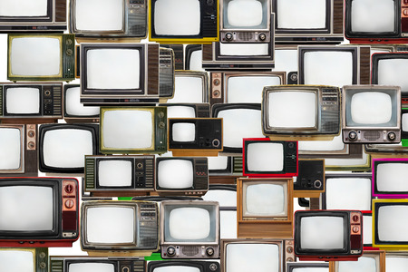 Foto de Many old televisions bundled together - Imagen libre de derechos