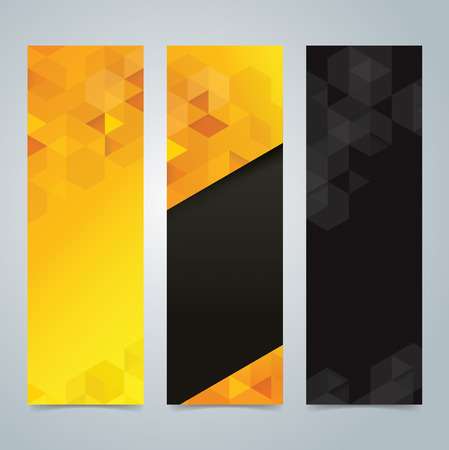 Illustration pour Collection banner design, yellow and black background. - image libre de droit