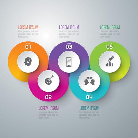 Ilustración de Infographic design template and marketing icons. - Imagen libre de derechos