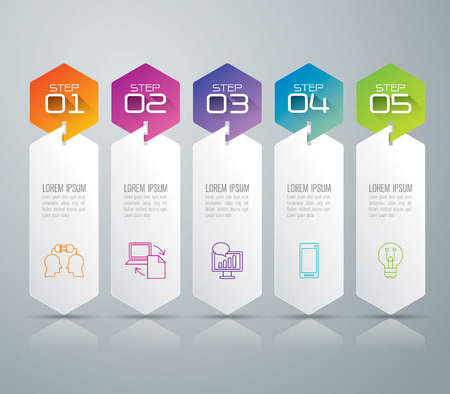 Ilustración de Infographic design template and marketing icons. - Imagen libre de derechos