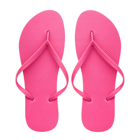 Photo for Pink rubber flip-flops isolated over white background, pair of thongs, shot above. - Royalty Free Image