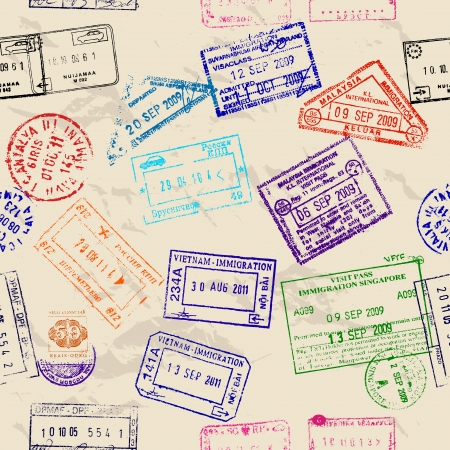 Illustration for Seamless texture with real visa stamps from 9 countries.  - Royalty Free Image