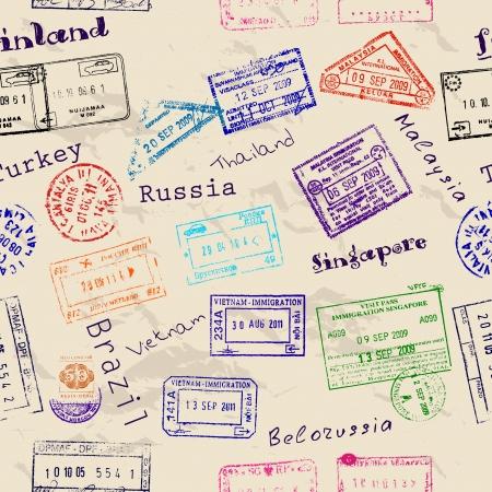 Ilustración de Seamless texture with real visa stamps from 9 countries. - Imagen libre de derechos