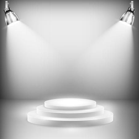 Illustration pour Shiny Stage IlluminatedShiny Stage Illuminated By Spotlights - image libre de droit