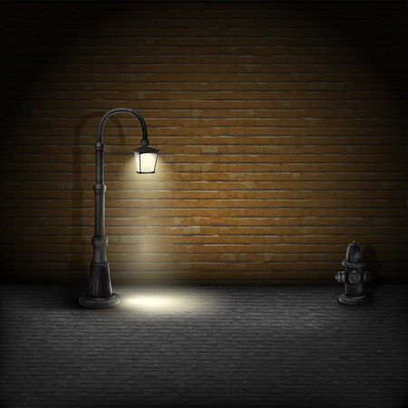 Illustration pour Vintage Streetlamp On Brick Wall Background. - image libre de droit