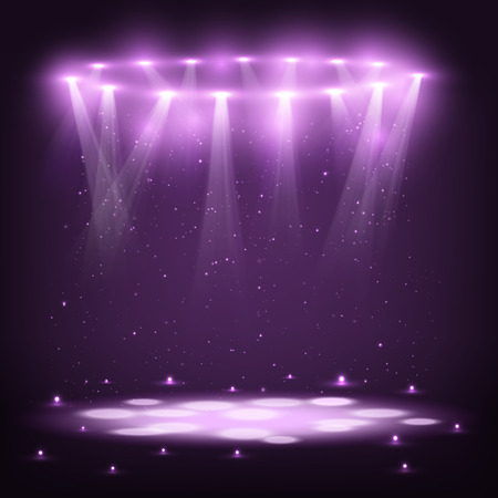 Illustration for Stage with Spotlights and Spark Rain. - Royalty Free Image