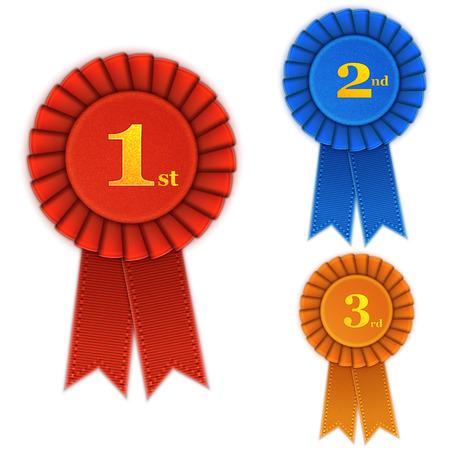 Illustration pour Winner Rosette Set with Ribbons. - image libre de droit