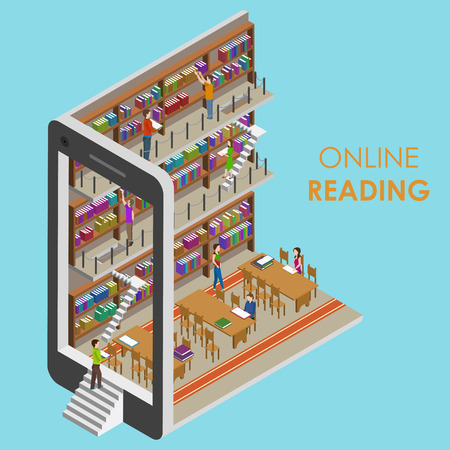 Photo pour Online Reading Conceptual Isometric Illustration. - image libre de droit