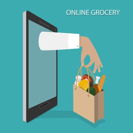 Ilustración de Online Grocery Ordering, Delivery Vector Concept. - Imagen libre de derechos