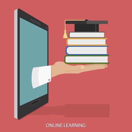 Photo pour Online Education Flat Isometric Vector Concept. - image libre de droit
