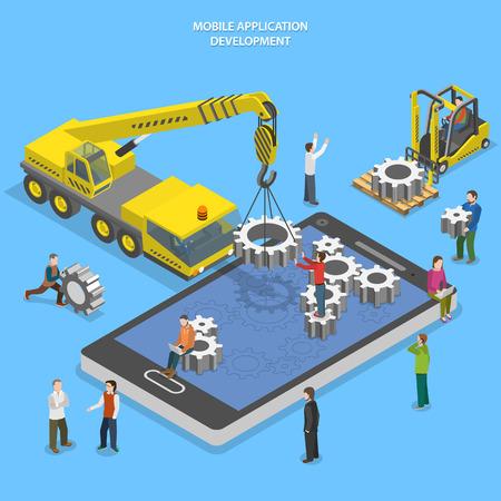Illustration pour Mobile app development flat isometric  - image libre de droit