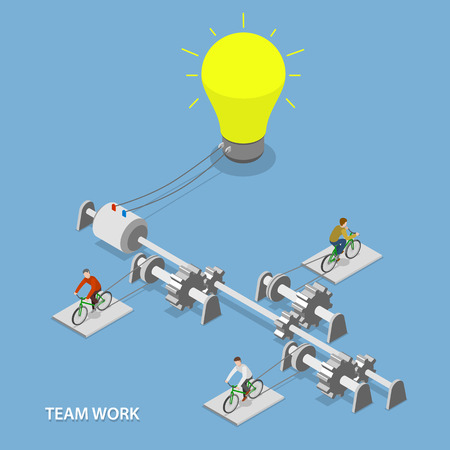 Illustration for Team work flat isometric vector concept. - Royalty Free Image