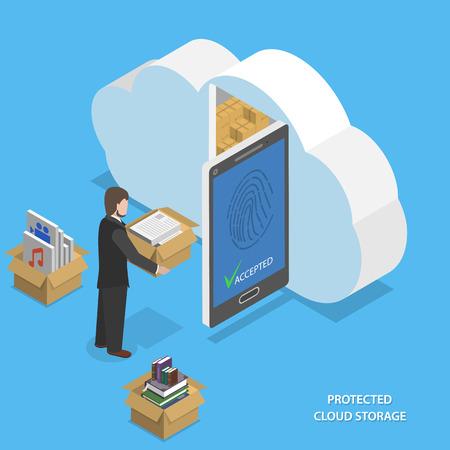 Illustration pour Protected cloud storage flat isometric vector. - image libre de droit