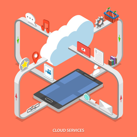 Illustration pour Cloud services flat isometric vector concept. Web content moving process between cloud services and mobile device. - image libre de droit