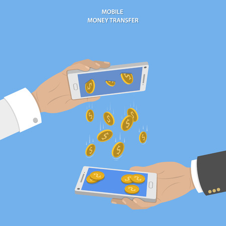 Illustration pour Mobile money transfer vector concept. Two hands take mobile devices and exchange coins. - image libre de droit