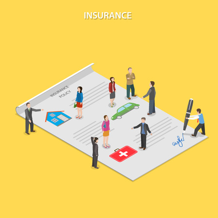 Illustration pour Insurance policy flat isometric vector concept. Insurance agents tell people about insurance conditions. All people are standing on paper insurance policy. - image libre de droit