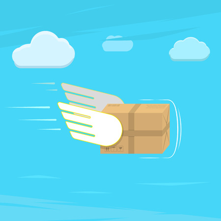 Illustration pour Fast delivery service flat vector illustration. Parcel with wings flies in sky among clouds. - image libre de droit