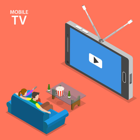 Illustration pour Mobile TV isometric flat vector illustration. Boy and girl sit on the sofa and watch TV set that looks like mobile phone. - image libre de droit