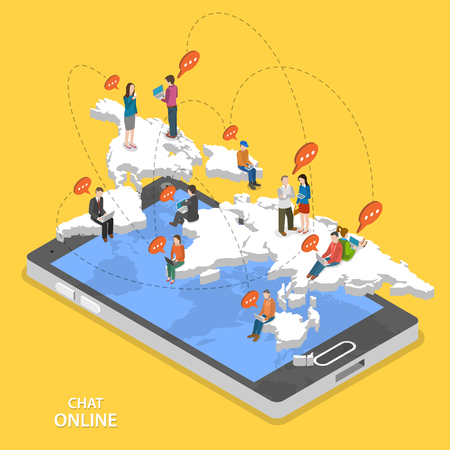 Photo pour Chat online isometric flat vector concept. Isometric model of earth continents are hovering over the smartphone with chatting people on it. - image libre de droit