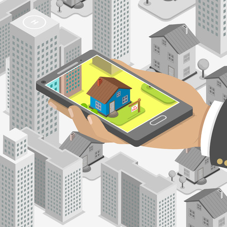 Illustration pour Real estate online searching isometric flat vector concept. Man with smartphone is looking for a house for buying or for rent, using online searching service. - image libre de droit
