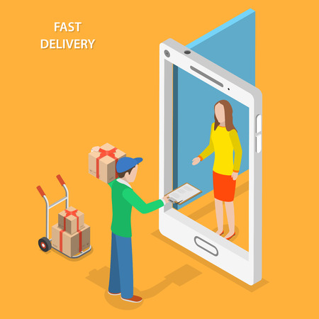 Illustration pour Fast delivery flat isometric vector concept. The Courier stays with the parcel near the door that looks like a smartphone and gives the parcel to the customer. - image libre de droit