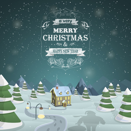 Illustration for Santa shadow against the snowed up forest and illuminated house with Merry Christmas greeting - Royalty Free Image