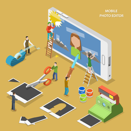Illustration pour Mobile photo editor flat isometric vector concept. People create and image on smartphone using photos, sticky tape and paint. - image libre de droit