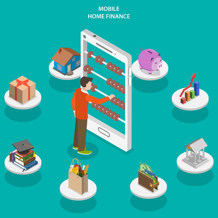 Ilustración de Home finance flat isometric vector concept. A man use counting frame that looks like smartphone surrounded accounting and investments icons. - Imagen libre de derechos