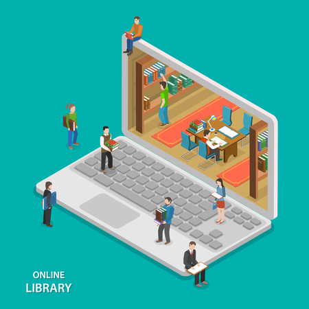 Ilustración de Online library flat isometric vector concept. People near and inside library that looks like laptop. Education, reading, learning online. - Imagen libre de derechos