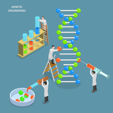 Illustration pour Genetic engineering isometric flat vector concept. Scientists in laboratory are changing DNA structure. Medical, biological, molecular research. - image libre de droit