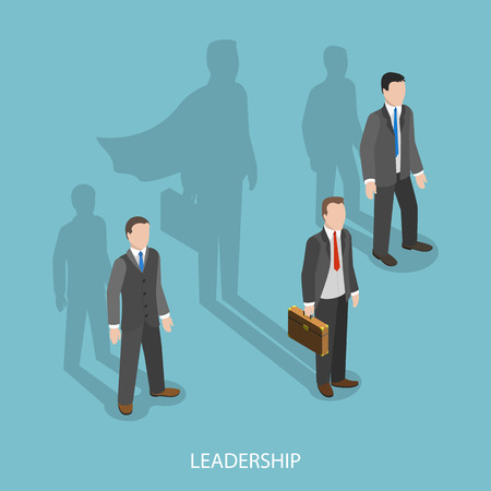 Illustration pour Leadership isometric flat vector concept. Three businessmen with shadows on the wall. Shadow of leader looks like a shodow of superhero. The business advantage. - image libre de droit
