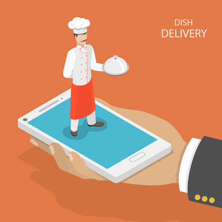 Ilustración de Dish fast delivery flat isometric vector concept.  Mans hand takes a mobile phone with chef on it, that holds the dish on his hand. Food delivery service. - Imagen libre de derechos