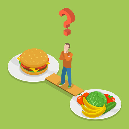 Illustration pour Health or junk food isometeric flat vector illustration. Man on the bridge between plate with junk and health food is thinking which to choose. - image libre de droit