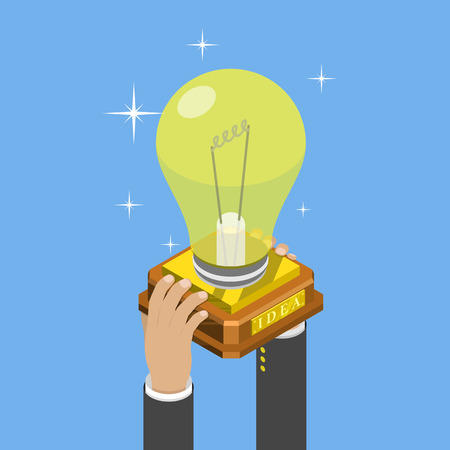 Illustration pour Big idea isometric flat vector concept. Mans hands take a trophy cup that looks like a lightbulb on pedestal. - image libre de droit