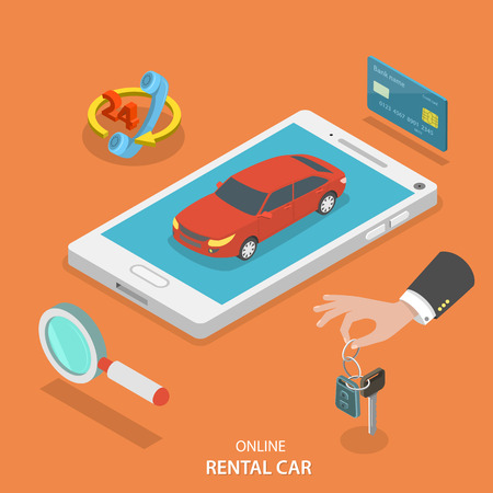 Illustration pour Online rental car service isometric flat vector concept. Red car on the mobile phone surrounded by thematic icons. - image libre de droit