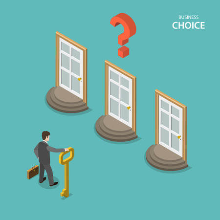 Illustration pour Business choice isometric flat vector concept. Businessman is trying to choose a right door to enter it. Choosing a right way to solve a problem. - image libre de droit