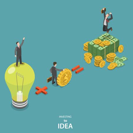 Ilustración de Investing into idea isometric flat vector concept. Idea plus investor is a huge profit. - Imagen libre de derechos
