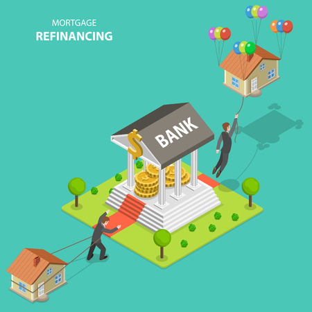 Illustration pour Mortgage refinancing isometric flat vector illustration. A man drags his house alone toward to the bank. After bank visit he flies out because the house is not heavy anymore. - image libre de droit